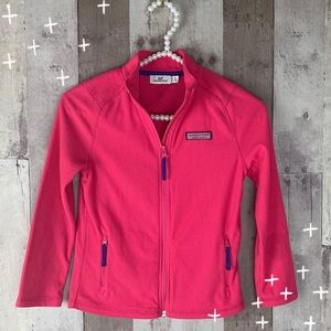 Girls Vineyard Vines pink zip up sweatshirt 7/8